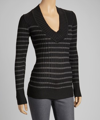 Black & Charcoal Stripe V-Neck Sweater