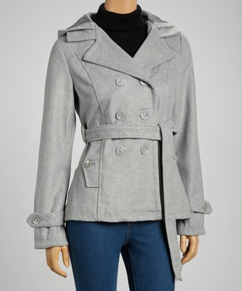 Heather Gray Hooded Peacoat