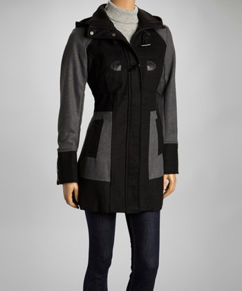 Black & Gray Two-Tone Toggle Coat