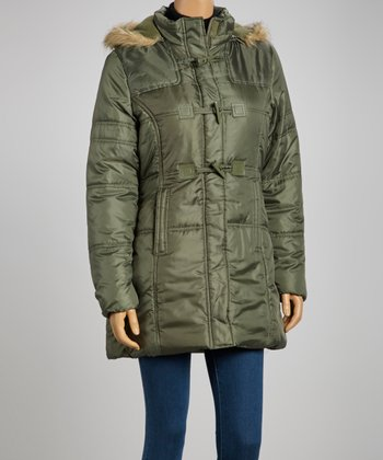 Olive Faux Fur Puffer Coat