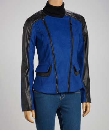 Royal Blue & Black Double Zipper Coat