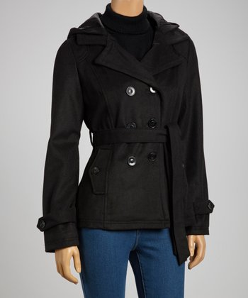 Black Hooded Peacoat