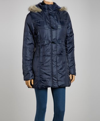 Navy Faux Fur Puffer Coat