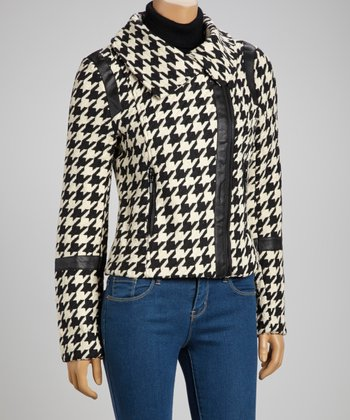 White & Black Zipper Houndstooth Coat