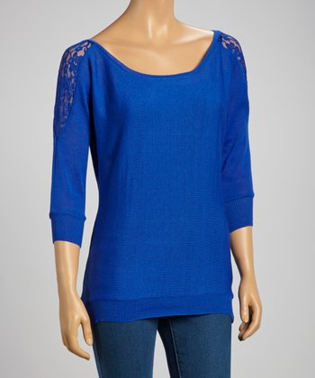 Royal Blue Lace-Shoulder Sweater