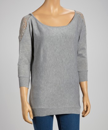 Heather Gray Lace-Shoulder Sweater
