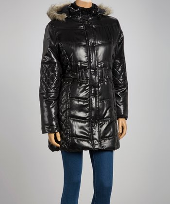 Black Faux Fur Quilted Puffer Coat