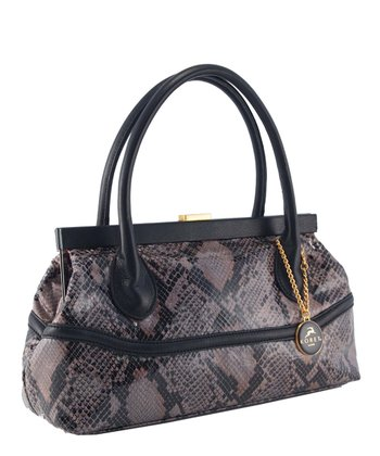 Black Snakeskin Frame Shoulder Bag