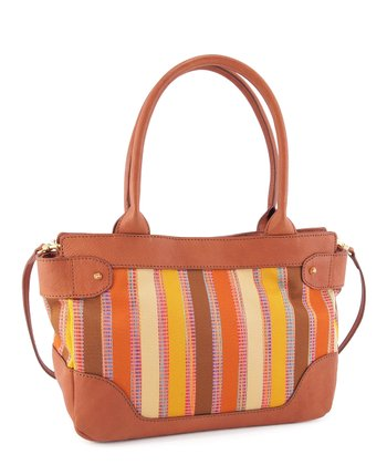 Natural Stripe Crossbody Tote