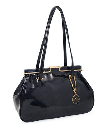 Black Patent Snap Shoulder Bag