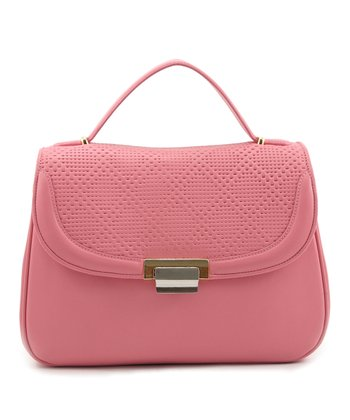 Pink Perforated Half-Flap Satchel