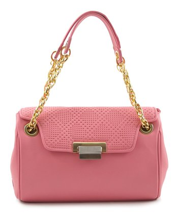 Pink Perforated Quarter-Flap Satchel
