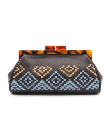 Brown Aztec Woven Clutch