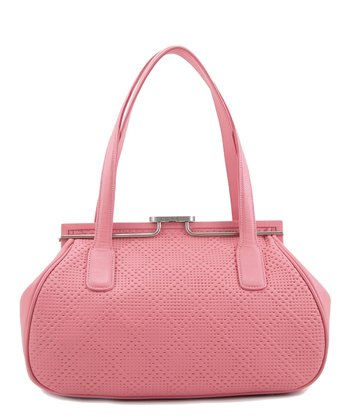 Pink Perforated Double-Handle Satchel