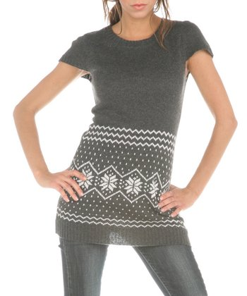 Gray Snowflake Cap-Sleeve Top