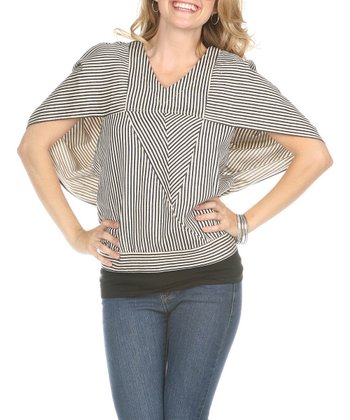 Ecru & Black Stripe V-Neck Top