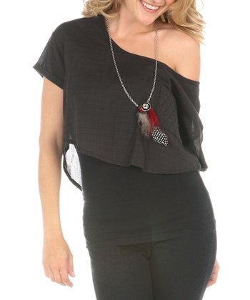 Charcoal Asymmetrical Top