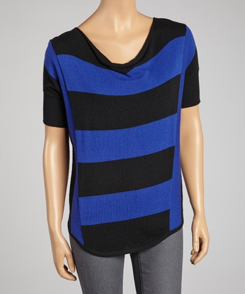 Cobalt & Black Stripe Dolman Top