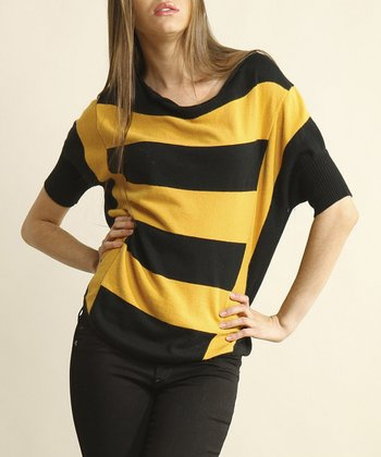 Yellow & Black Stripe Dolman Top