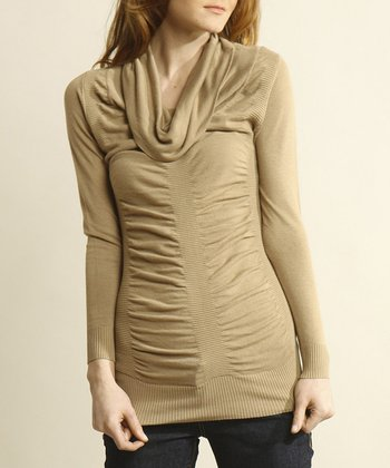 Wheat Cowl Neck Sweater Tunic - Women
