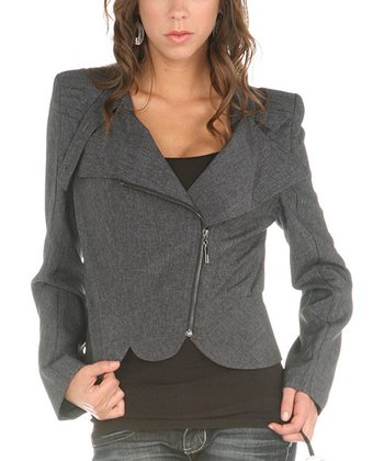 Charcoal Crop Asymmetrical Zip-Up Jacket