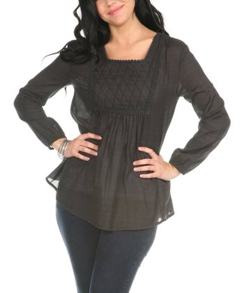 Charcoal Quilted Long-Sleeve Top