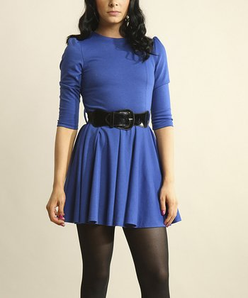 Cobalt Blue Three-Quarter Sleeve Dress