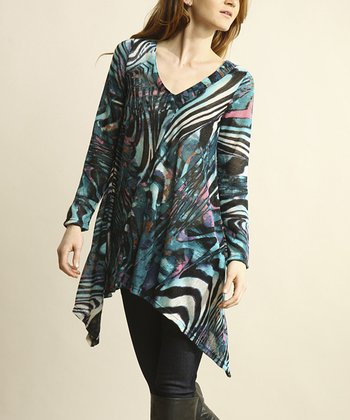 Blue Zebra Sidetail Tunic