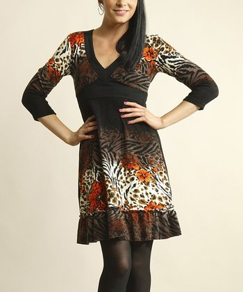 Black & Orange Leopard Empire-Waist Dress