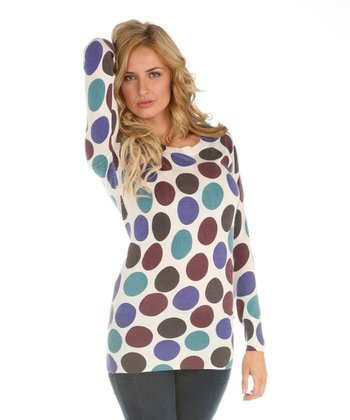 Ecru Polka Dot Sweater Tunic