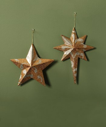 Gold Glitter Star Ornament Set