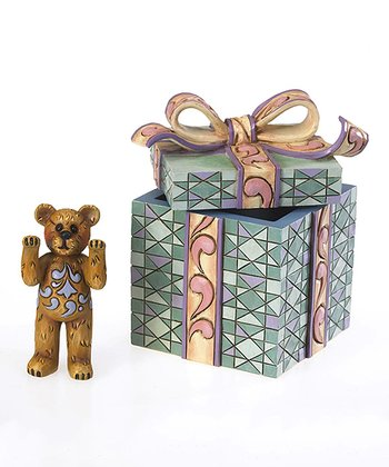 Peeking Bear & Box Figurine Set