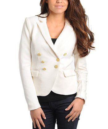 Ivory & Gold Double-Breasted Blazer