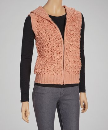 Salmon Yarn Hooded Vest