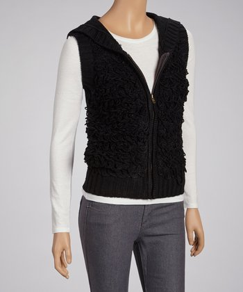 Black Yarn Hooded Vest