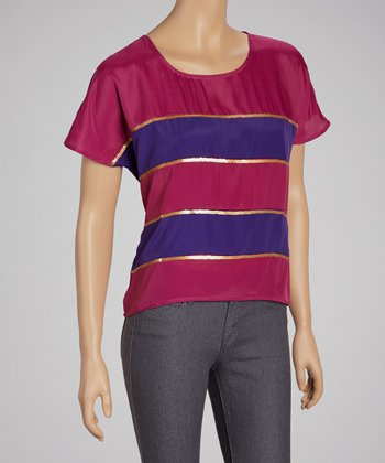 Magenta Stripe Sequin Top