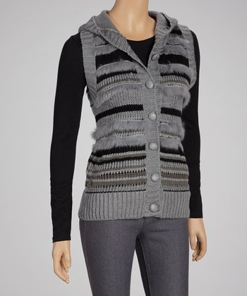 Gray Stripe Button-Up Sweater Vest