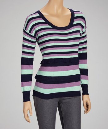 Navy Stripe Scoop Neck Sweater