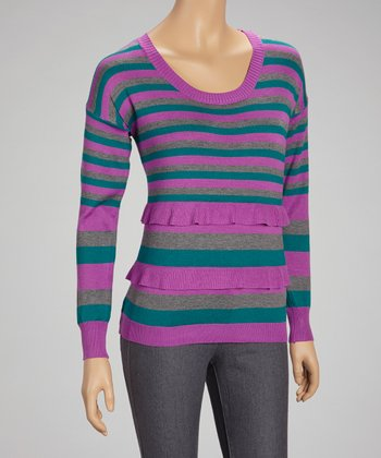 Purple Stripe Scoop Neck Sweater