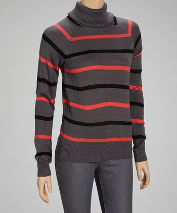 Gray Stripe Turtleneck