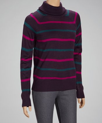 Purple Stripe Turtleneck