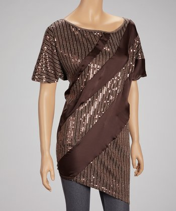 Brown Sequin Stripe Top