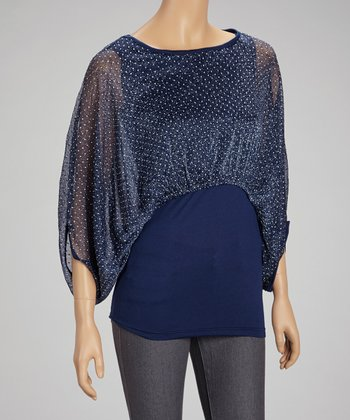 Navy Polka Dot Cape-Sleeve Top