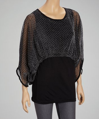 Black Polka Dot Cape-Sleeve Top