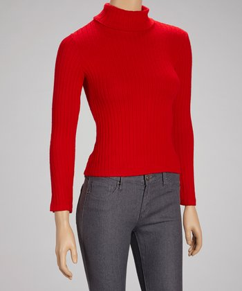 Red Ribbed Turtleneck