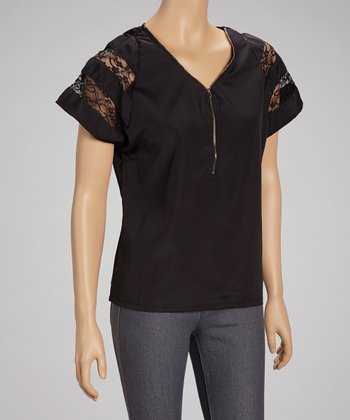 Black Y-Zipper Lace Top