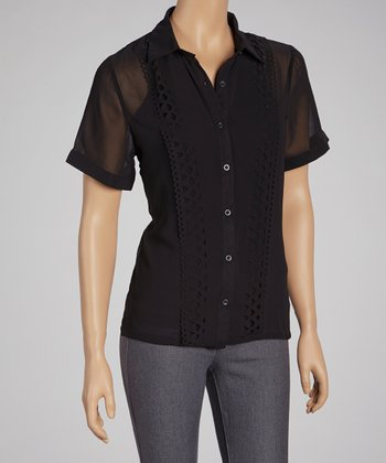 Black Sheer Cutout Button-Up