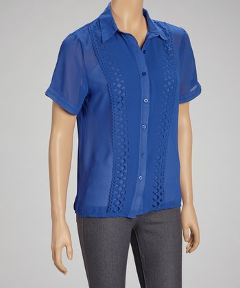 Royal Blue Sheer Cutout Button-Up