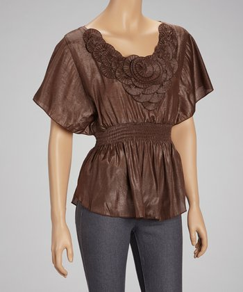 Brown Rosette Cape-Sleeve Top