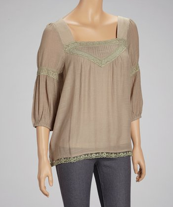 Taupe Square-Neck Peasant Top